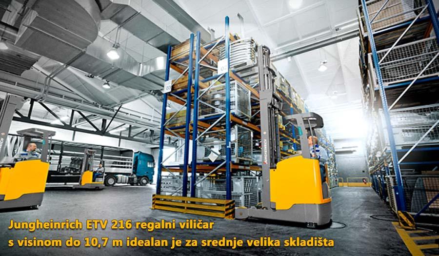 Jungheinrich ETV 216 regalni viličar s visinom do 10,7 m idealan je za srednje velika skladišta